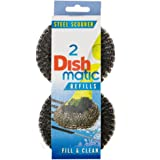 3 Packs of 2 Dishmatic Steel Scourer Refill Heads for cleaning BBQ's, Hot Plates, Steel Pots & Pans (6 in total)