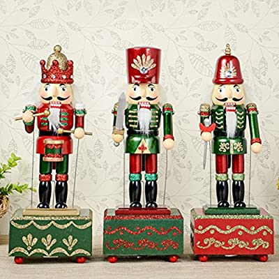 ZaH 12 Inch Christmas Ornament Nutcracker Wooden Music Box Christmas Decorations Gifts Nutcracker Puppets