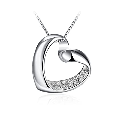 J.Rosée Necklaces For Women, Heart Necklace 925 Sterling Silver 3A Cubic  Zirconia,