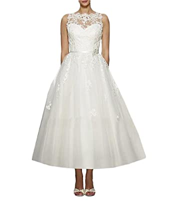Luokadress Tulle Lace Tea Length Wedding Dresses Prom Gowns for Bride WH076 US 2 Ivory
