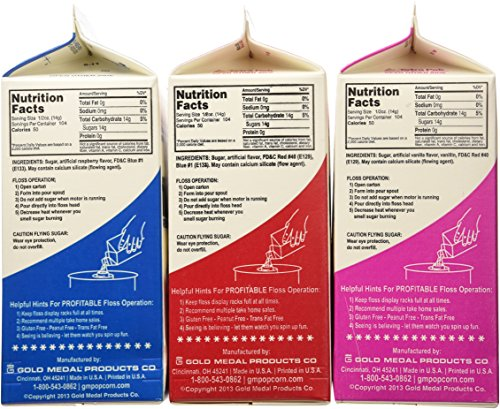 Cotton Candy Floss Sugar-Blue Raspberry, Pink Vanilla & Cherry- 3.25 lbs. (3 pack) by Gold Medal (Image #4)