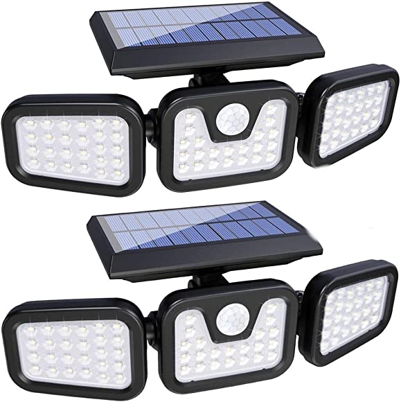Solar Lights Outdoor with Motion Sensor, 3 Heads Security Lights Solar Powered, 74LED Flood Lights Motion Detected Spotlights 360 Rotatable IP65 Waterproof for Porch Garage Yard Entryways Patio- 2PCS