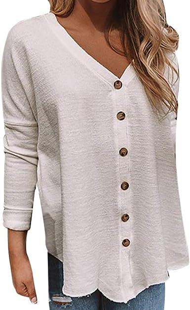 Reooly Nueva Camisa de botón de Color sólido de Moda para Mujer Camisa Casual con Cuello en V de Manga Larga: Amazon.es: Ropa y accesorios