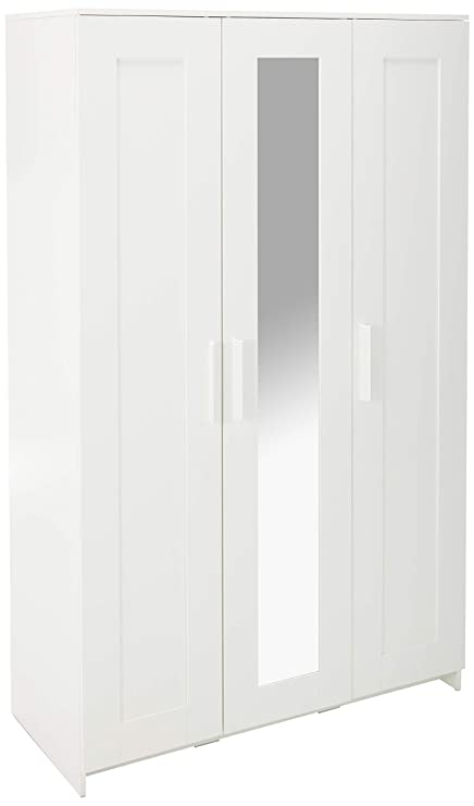 IKEA Brimnes Home Bedroom Wardrobeswardrobe with 3 Doors, White 103 947 18,  46x74 3/4