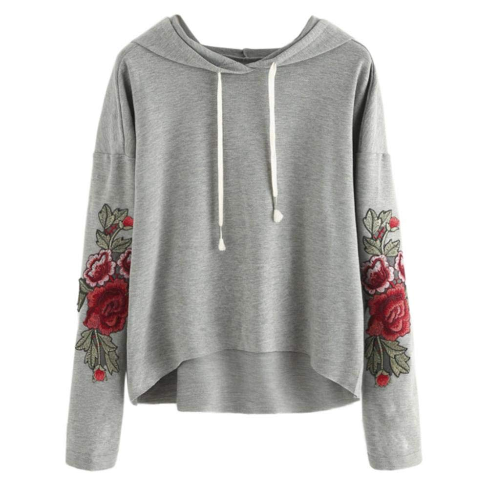 XOWRTE Long Sleeve Hoodie Sweatshirt Women Hooded Pullover Blouse Applique Black Gray Top Fashion