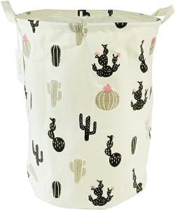 Large Sized Waterproof Coating Ramie Cotton Fabric Folding Laundry Hamper Bucket Cylindric Burlap Canvas Storage Basket with Drawstring Cover Stylish Cactus Design (Black Cactus)