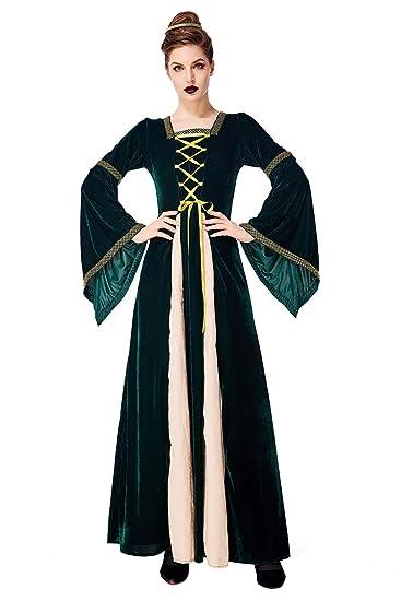 Prettycos - Mujer Traje Medieval Disfraz de Reina Princesa Medieval Vestido Gotico Cosplay Bruja Diosa