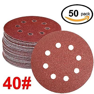 WINGONEER 50PCS Sanding Discs Pads, 5-Inch 8-Hole 40-Grit Hook and Loop Aluminium Oxide Sandpaper for Random Orbital Sander