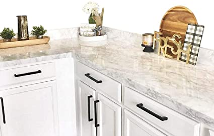 EZ FAUX DECOR Self Adhesive White Gray Marble Granite Peel and Stick  Instant Countertop Update 36\
