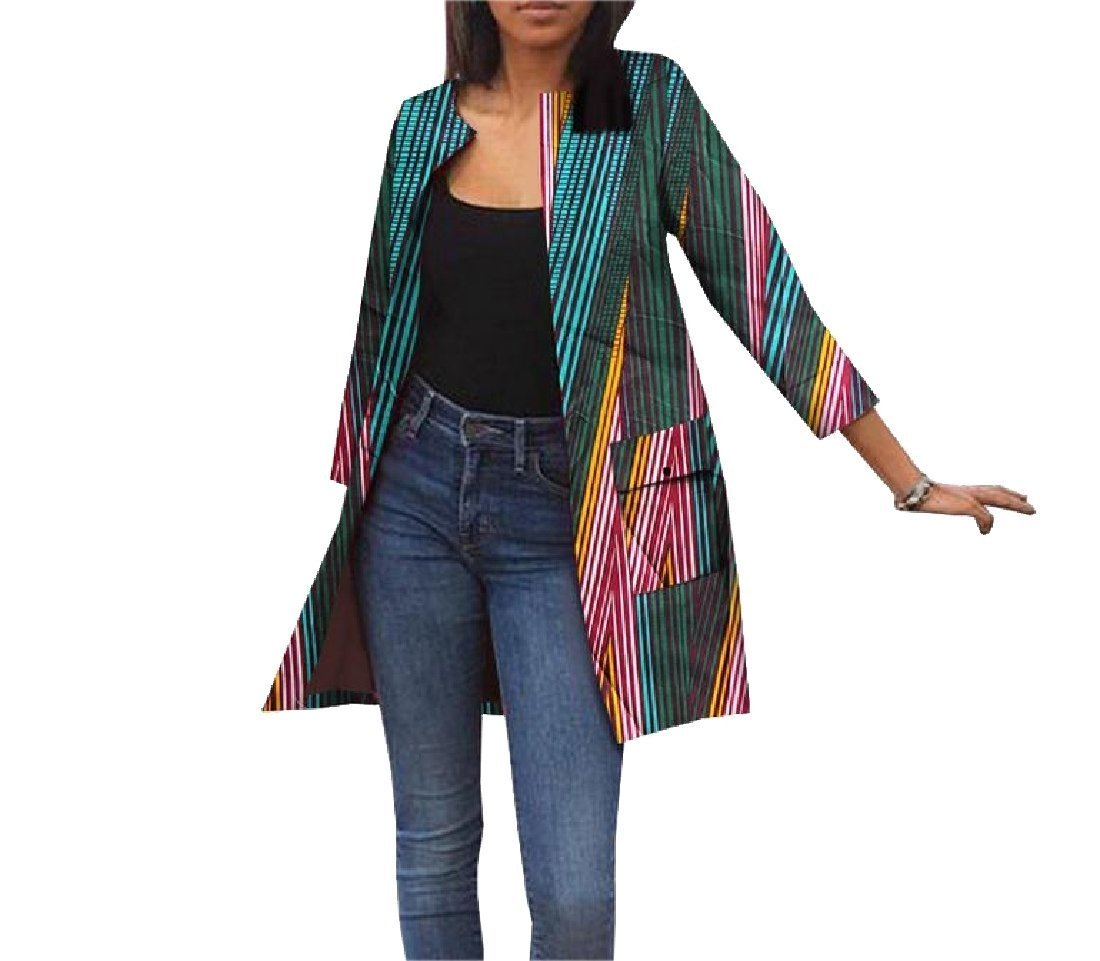 Abetteric Womens Jacket With Pocket Africa Cardigan Dashiki Vogue Trench Coat 3 XS by Abetteric