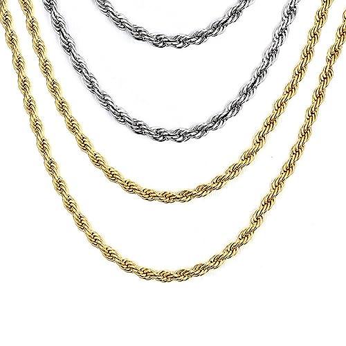 Vnox 4 piezas de acero inoxidable torcido cordón cadena ...