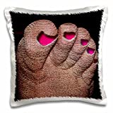 Jos Fauxtographee Realistic - A Foot Textured with Toenails Painted Pink and Sunk In - 16x16 inch Pillow Case (pc_44091_1)
