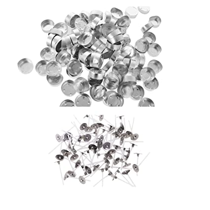 Baosity 100 Pieces Empty Aluminum Case Tealight Cups Containers 100 Pieces Cotton CORE Candle Wicks with TABS DIY Tea Light Candle Making Supplies