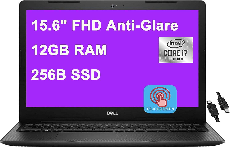 2020 Premium Dell Inspiron 15 3000 3593 Business Laptop 15.6 inch FHD Touchscreen 10th Gen Intel Quad-Core i7-1065G7 12GB DDR4 256GB SSD MaxxAudio WiFi Win10 + iCarp HDMI Cable