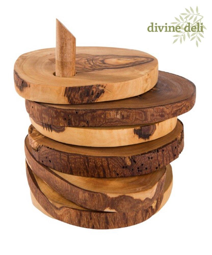 Devine Deli Olive Wood Smooth Coasters Set by Devine Deli (Image #1)
