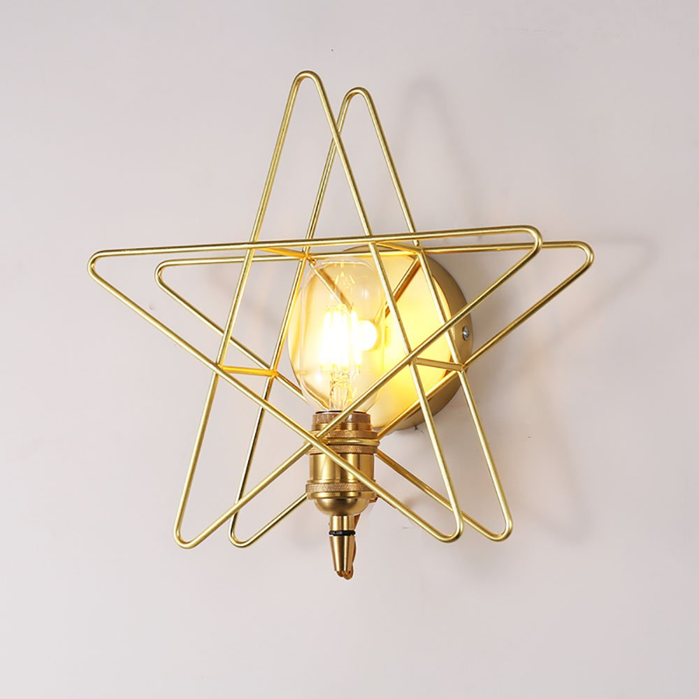 TOYM US Golden Star wall lamp, personalized creative brass bedroom bedside lamp, suitable for bedroom, children's room