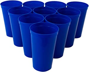 CSBD Stadium 22 oz. Plastic Cups, 10 Pack, Blank Reusable Drink Tumblers for Parties, Events, Marketing, Weddings, DIY Projects or BBQ Picnics, No BPA (Blue)