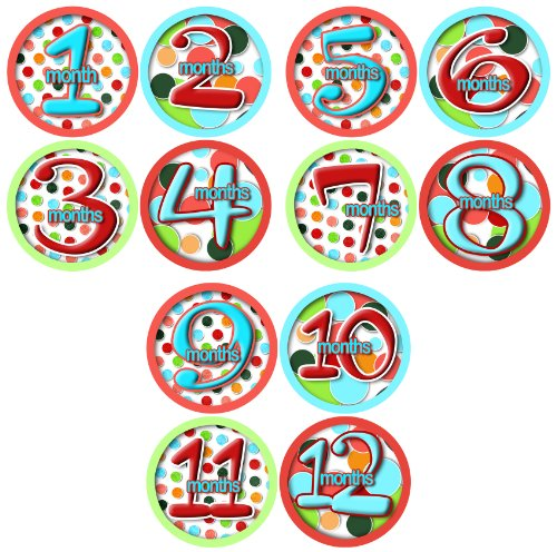 12 Month Stickers LOLLIPOP POLKA DOTTED DOTTED Onesie Stickers Baby Shower Gift Photo Shower Stickers, Baby month stickers by OnesieStickers ()