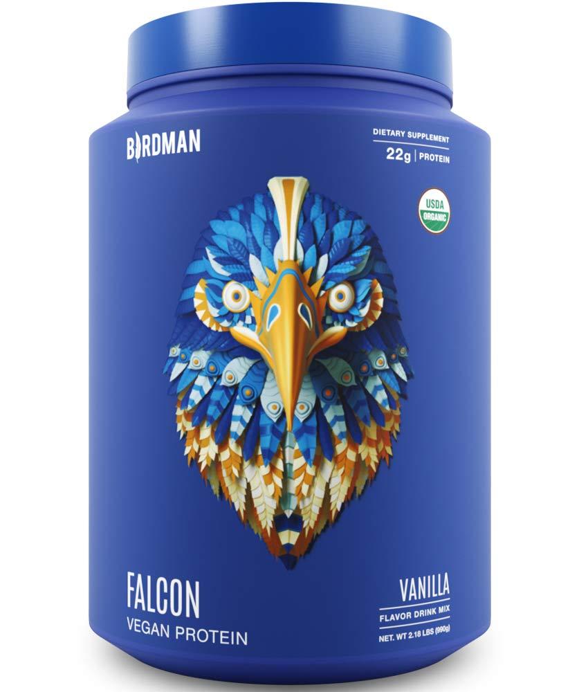 Birdman Falcon Protein, Organic Plant Based Powder 2.18 lb, 33 Servings, Vanilla Flavor, Vegan, Gluten Free, Kosher, Non-GMO, Drink Mix, with Pea and Rice