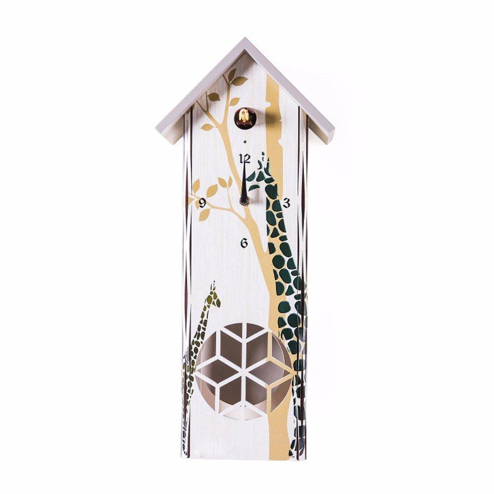 KHSKX Orologio a cucù cucù orologio da parete in legno massiccio giardino il soggiorno tranquillo creative cartoon camera dei bambini l'uccello colpire i grafici per parete, C
