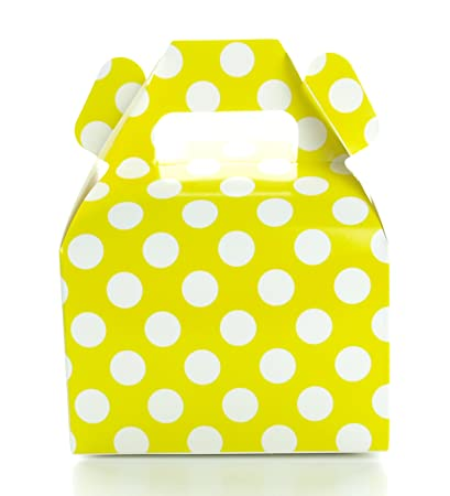 Polka Dot Favor Boxes Yellow Wedding Favors 12 Pack Small Candy Boxes Yellow Party Supplies Summer Birthday Party Candy Buffet Supply Boxes