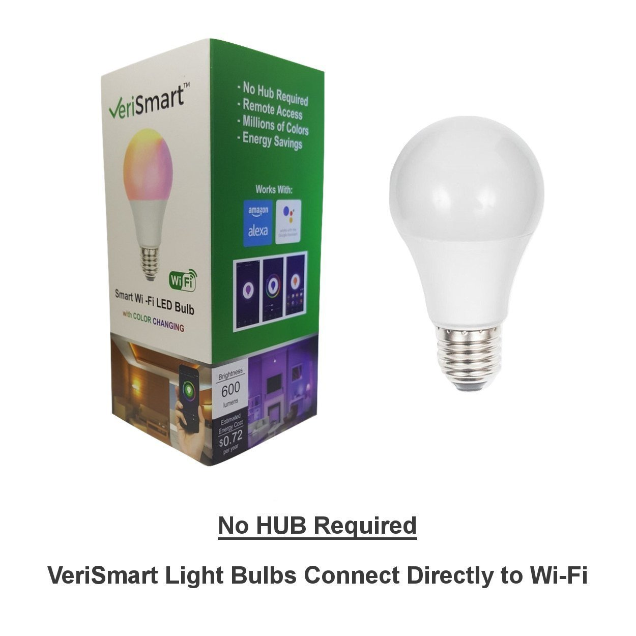 VeriSmart Wi-Fi LED Smart Light Bulb - Works with GOOGLE HOME and AMAZON ALEXA, Free APP, (7W) 60W Equivalent, 6000K, No HUB Required, CE & FCC Certified by VeriSmart (Image #2)