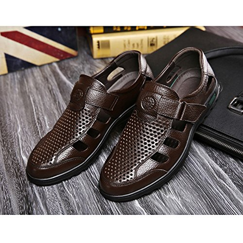 Sunny Elderly Shoes Leather Shoes Slippers Breathable Holiday Shoes Casual Shoes Hole Shoes Sandals Men Summer Male Non-Slip Soft Bottom Brown JvdR8