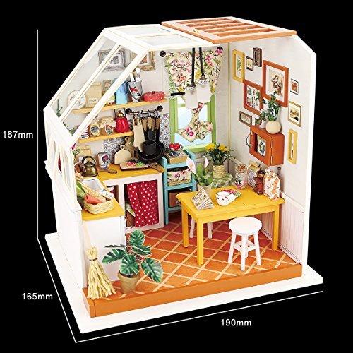 Robotime Exquisite Diy House Miniature Dollhouse Kits Kitchen Room