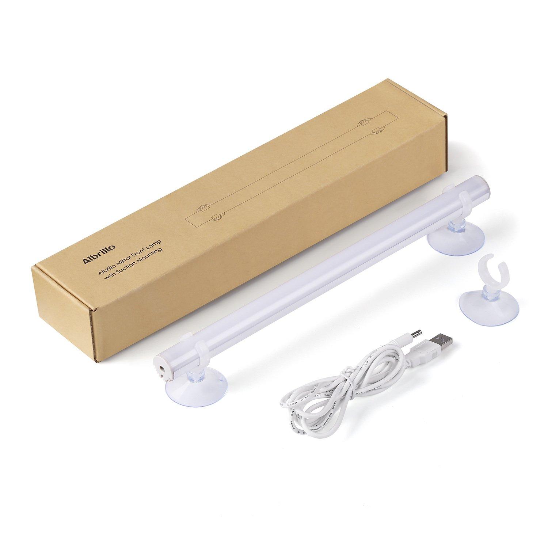 Albrillo 6W 350lm LED Spiegellampe zum Schminken Make up Licht aus 30 SMD2835 LEDs mit Saugnapf und 1.6m USB-Kabel, 5500k Tageslicht und 120°Abstrahlwinkel [Energieklasse A+]