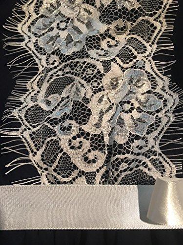 Bonnie Jean Tween Girls Chiffon Navy Lace Trimmed Dress (16) - Trimmed Dress