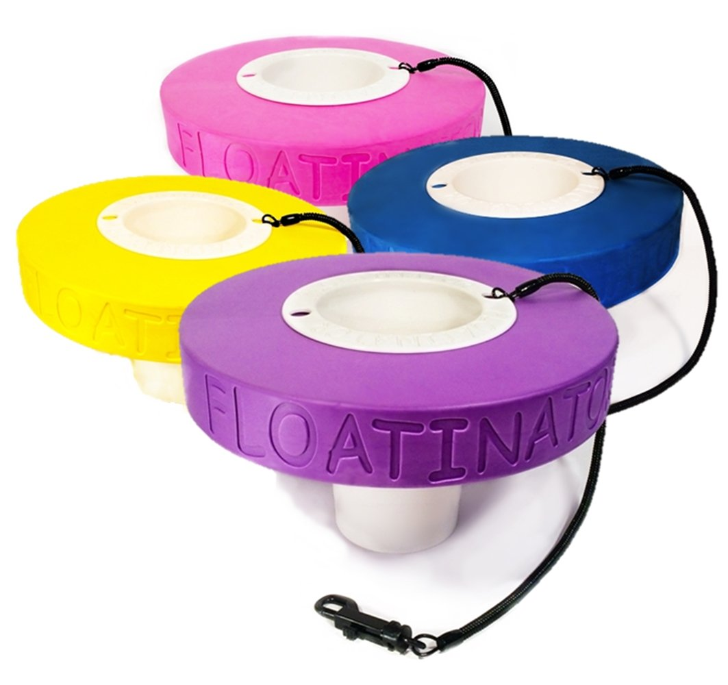 Floatinator 4-Pack (Blue, Pink, Purple & Yellow) Floating Cup Holder for your Drink in the Pool, Spa, Lake, River or Ocean (BluePinkPurpleYellow)