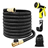 Upgrade 50'Expanding Garden Hose Stretch Hosepipe set,9 Functions Sprayer,Expandable Hose With Double Latex Core,Solid Brass Connector, 3750 Denier woven casing for Watering,Auto Wash,Cleaning