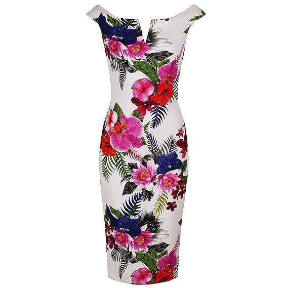 488269dda4c9 Pretty Kitty Fashion Ivory White Multi Colour Floral Print Bardot Bodycon  Retro 40s Pencil Dress  Amazon.co.uk  Clothing