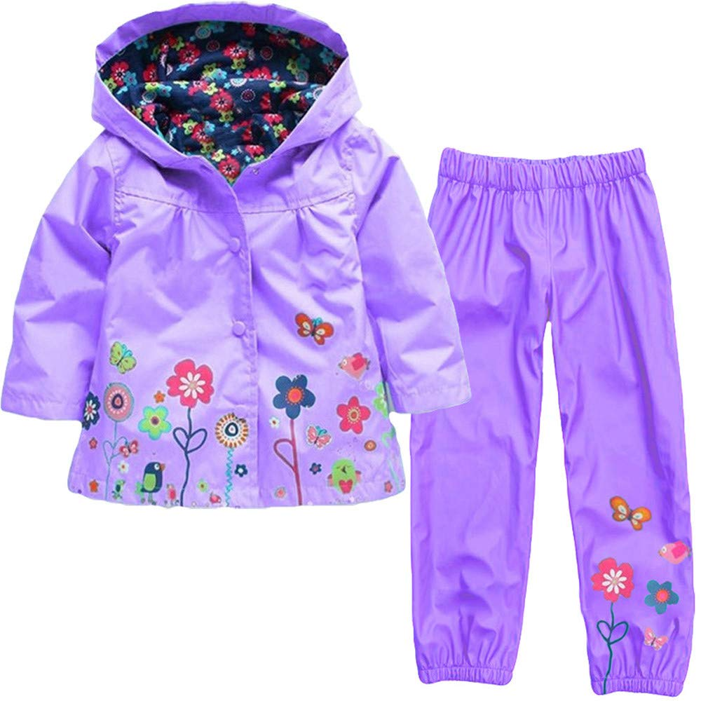 Vovotrade Girls Boys Windbreaker Jacket Printed Raincoat Trench Coat+Pants Waterproof Suit(Purple,90)