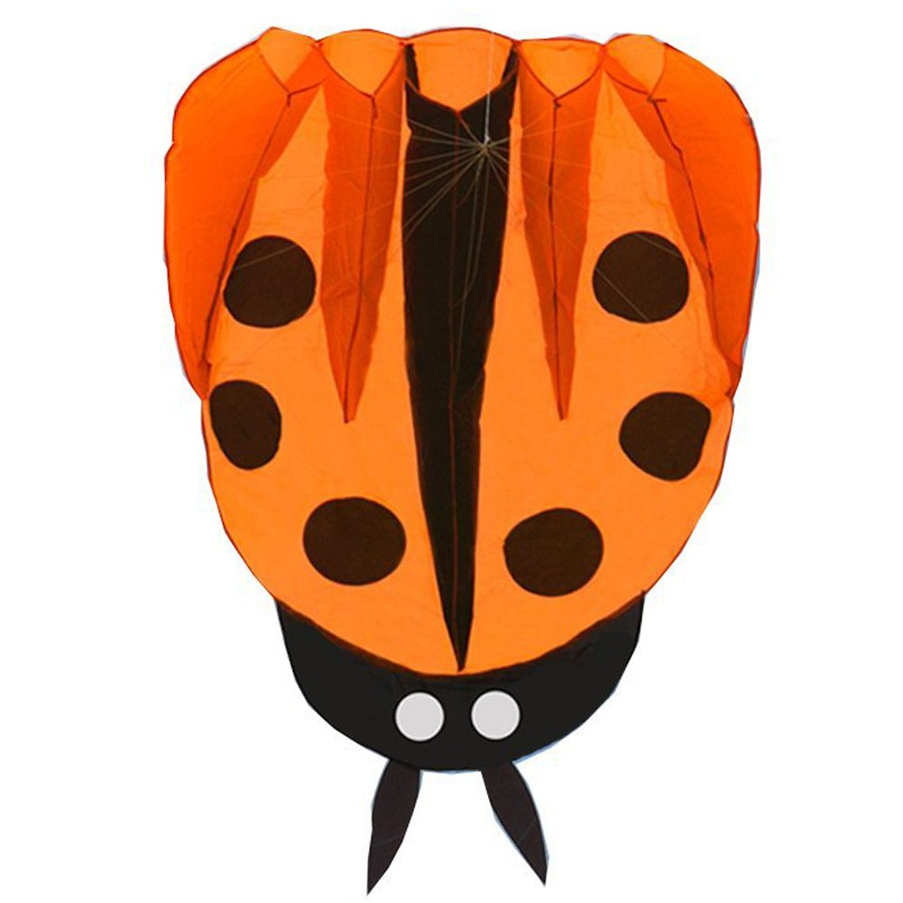 (Orange) - Besra Colourful Ladybug Kite with Handle & Strings Ladybird Parafoil Kite Easy to Fly Outdoor Fun Sports for Kids & Adults (Orange) B07D14NQ6D オレンジ