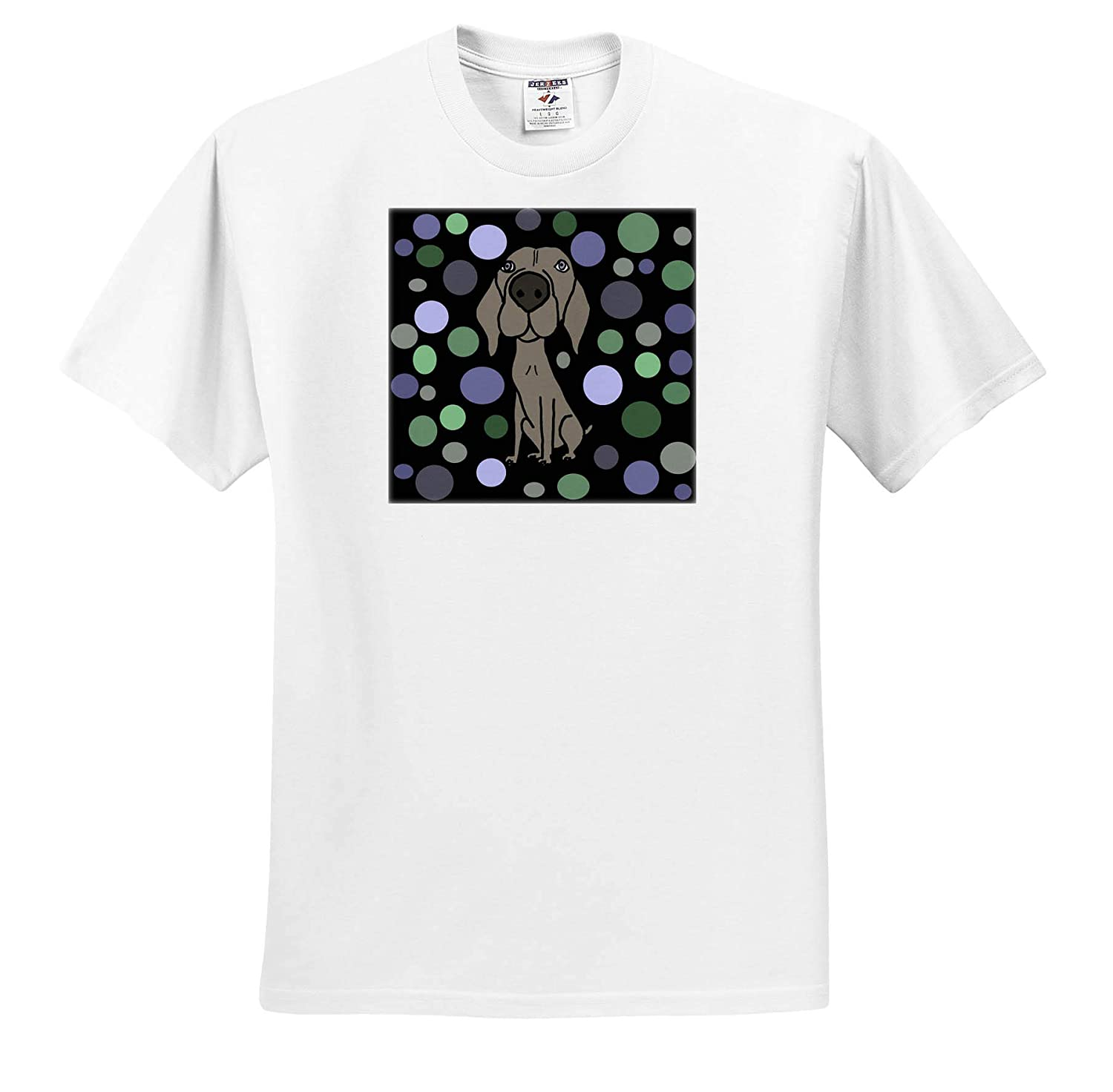 Pets Funny Cute Weimaraner Dog and Circle Pattern Abstract Art 3dRose All Smiles Art T-Shirts