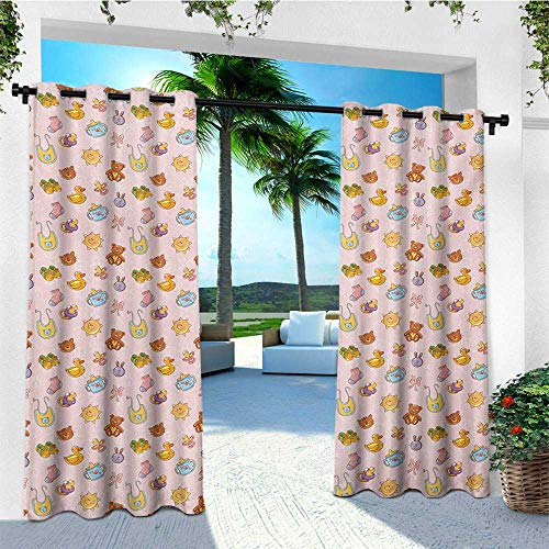 leinuoyi Baby, Outdoor Curtain Set, Infant Toys Teddy Bears Rubber Ducks Pacifiers with Shoes and Socks Doodle Background, Balcony Curtains W108 x L108 Inch Multicolor ()