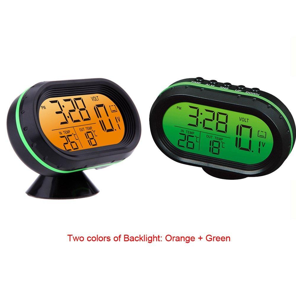 Yosoo 12V Termómetro digital del voltímetro del reloj de alarma del monitor, multifuncional Autometer voltaje del reloj de congelación Medidor de ...