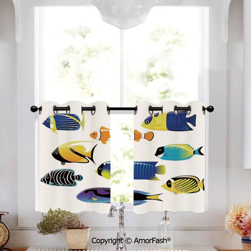 Amazon.com: PUTIEN Ocean Animal Decor Printing Curtains for ...