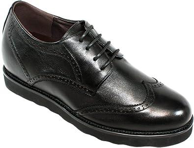 K285051-8,1 cm Größer - Größe 41 - Die Höhe Steigerung Aufzug Schuhe (Schwarz Leder Superleicht Flügelspitze Schnüren Freizeitschuhe) Calden