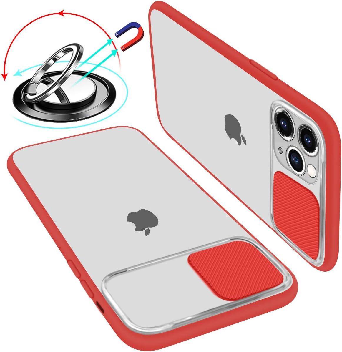 UNIOTEK Funda con Tapa Deslizable para Cámara Compatible con iPhone 11 Pro Funda Protectora Antigolpe Carcasa PC y Silicona TPU con Soporte de Anillo (Soporte El Montaje De Coche Magnético) Rojo