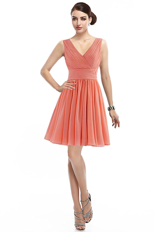 Landyagent Elegante Kurz Chiffon Ballkleid Brautjunfernkleid Abendkleid 6 Farbe
