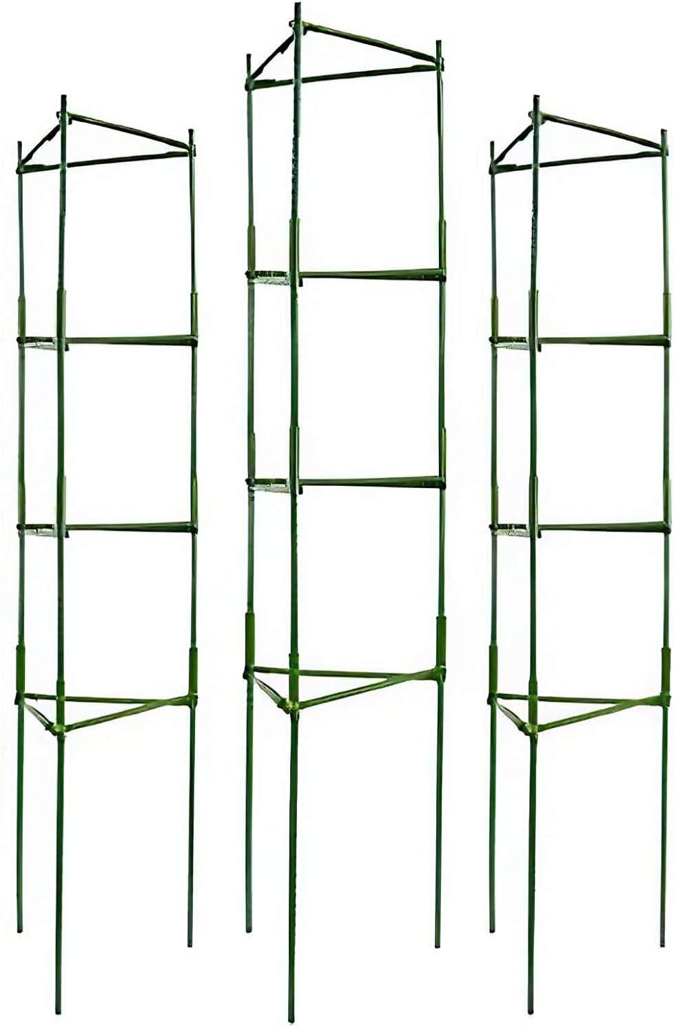 IPSXP Vegetable Trellis, Garden Plant Support Stakes for Climbing Plants, Vegetables, Flowers, Fruits, Vine, 4 Garden Trellis with 80 Adjustable Cable Tie