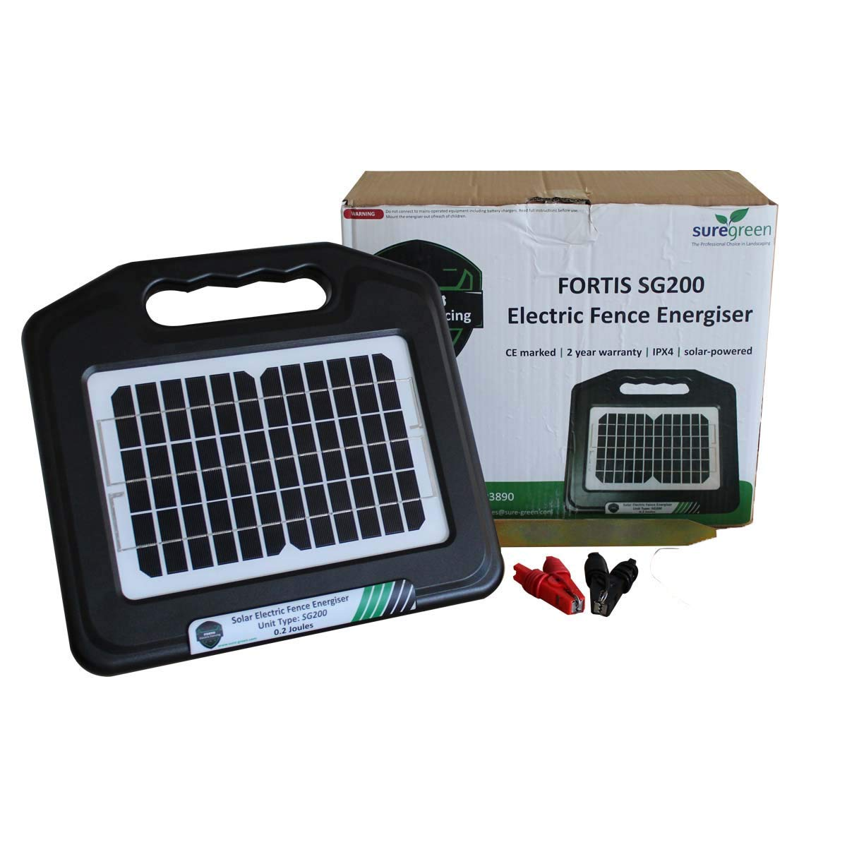 Suregreen Electric Fence Energiser Solar Powered 0.2J Power Unit with Rechargeable Battery FORTIS Energizer – CE and ROHS approved with 24 Month Warranty