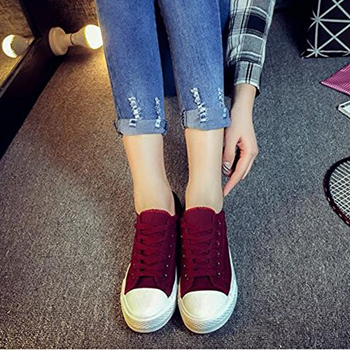Summerwhisper Womens Stylish Low Top Lace-up Plimsoll Canvas Shoes Flats Skate Sneakers Red gh4dSFECA
