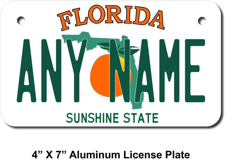 Trucks TEAMLOGO Personalized Florida License Plate Cars Cart Sizes for Kids Bikes Key Rings Version 1