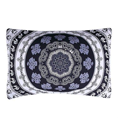 Sleepwish Mandala Pillowcases, Bohemian Flower Boho Geometric Floral Mandala Pattern Pillowcase, Black and White Decorative Pillow Case (20x36 Inches) ()
