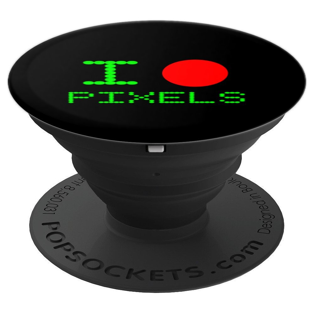 I Love Pixels Funny Computer Geek Tech Nerd Gift Accessory - PopSockets Grip and Stand for Phones and Tablets