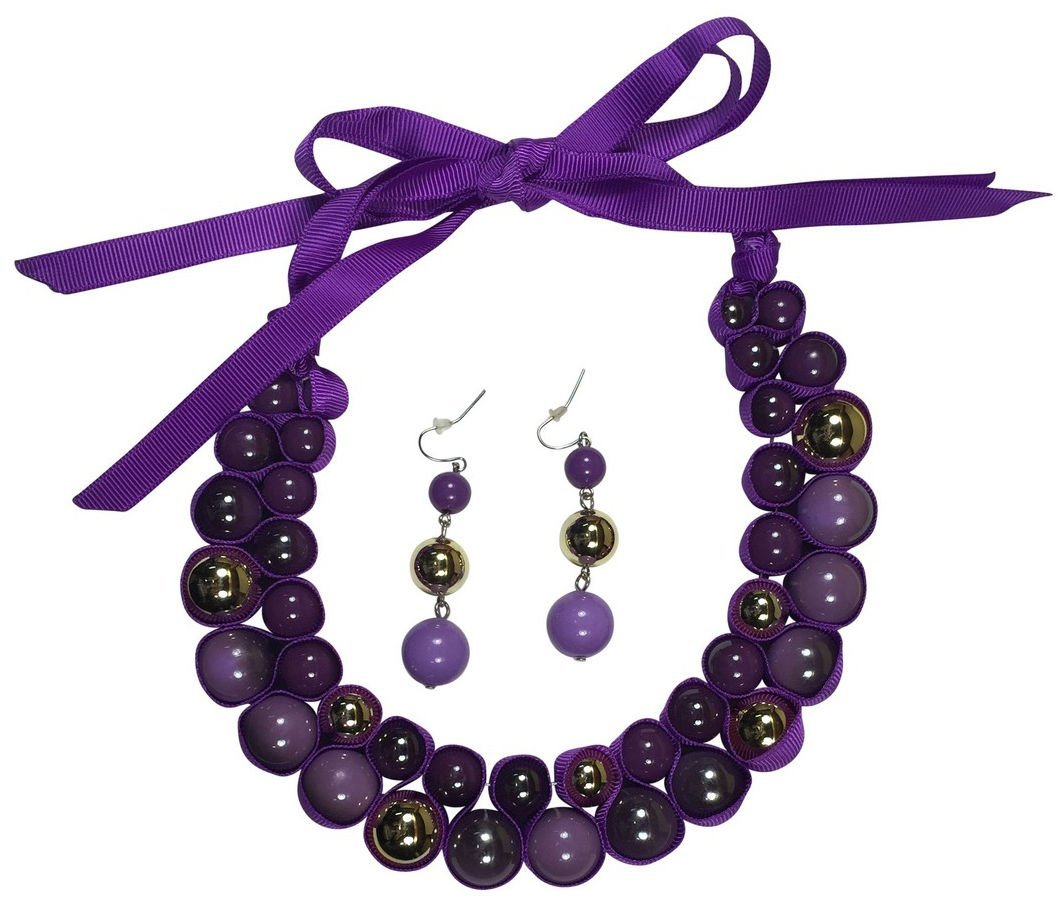 Isabella's Journey Women's Fashion Purple Passion Ribbon Choker Necklace Earrings Set, IJJWPP 12''