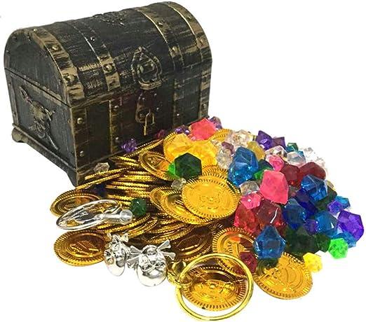 YUSDP Cofre del Tesoro Hucha Caja Grande Juguete de plástico con Monedas de Oro Gratis Gemas Diseño de joyería niños Niños Niñas Niños con Regalos Decoración Infantil: Amazon.es: Hogar